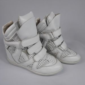 Isabel Marant Bekett high top wedge sneakers white
